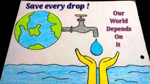 How To Draw Save Water Poster Drawing For Kids Easy Save
