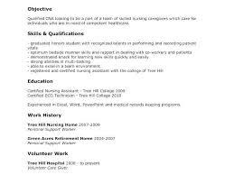 Cna Resume For Hospital New Cna Resume No Experience Fresh Job