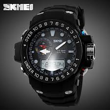 aliexpress com buy men s sporty watch analog digital dual time men s sporty watch analog digital dual time zones slide rule calendar chronograph