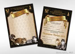 Полиграфия к выставкам для организаторов выставок Котостудия Дипломы и сертификаты для участников выставки кошек