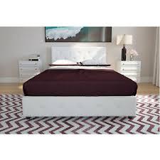 Details about 3 Piece Full Size Bedroom Set Furniture Modern Platform Bed 2 Nightstands White