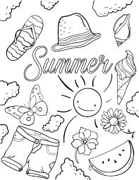 Summer is already here and have made some cute free printable summer coloring pages for kids. Free Summer Coloring Page Summer Coloring Pages Summer Coloring Sheets Beach Coloring Pages