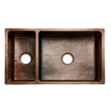 hammered copper kitchen sink: premier copper products all in one undermount hammered copper  in  hole   double bowl kitchen sink in oil rubbed bronze ksp kdb the home