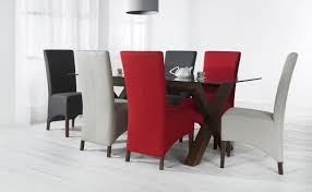 walnut dining set with various colors fabric dining chairs and glass top dining table