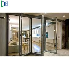 lobby entrance door patio sliding french folding door with clear frosted tempered glass panel