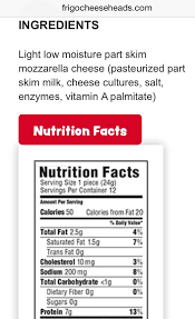 frigo light string cheese nutrition facts