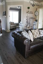 new flooring reveal and a giveaway living room what color rug with brown leather sofa