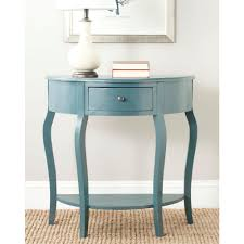 small console table with drawer. Safavieh Jan Demilune Navy Storage Console Table Small With Drawer