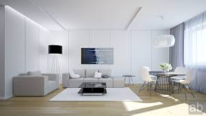 white living room with grey sofa and white chairs at white living room ideas