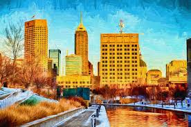 indianapolis photograph indianapolis skyline c view digital painting by david haskett