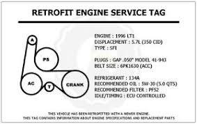 1996 lt1 5 7l impala ss retrofit engine service tag belt routing image is loading 1996 lt1 5 7l impala ss retrofit engine