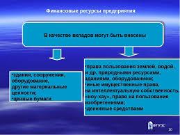Презентация Финансовые ресурсы предприятия Финансовые ресурсы предприятия В качестве вкладов могут быть внесены
