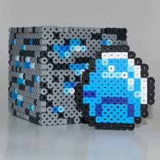 17 best images about 3d perler beads minecraft diamond diamond ore minecraft made perler beads