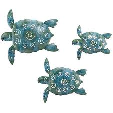 sea turtle metal wall decor set of 3 by