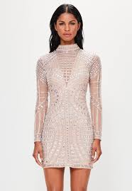 Missguided Peace Love Nude Long Sleeve Embellished Bodycon Dress