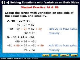 student practice 1a 1b group the terms with variables on one side of the