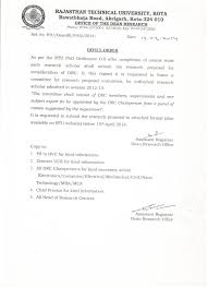 Office Order Regarding Research Proposal of Candidates admitted in session          middot          Rajasthan Technical University
