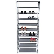 image of Home Basics 10-Tier Coated Non-Woven Shoe Rack in Grey