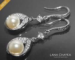 ivory pearl cz bridal earrings swarovski pearl chandelier wedding earrings bridal pearl jewelry wedding earrings pearl dangle earrings