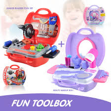 details about set of 2 pretend role play toys s makeup box boys builder tool box fun time