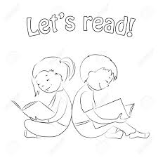 Small Picture Children Sitting Back To Back Girl And Boy Reading Books Outline