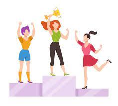 Donne sul podio del vincitore | Vettore Premium