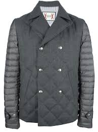 Moncler gamme bleu Quilted Pea Coat in Gray for Men | Lyst & Gallery Adamdwight.com