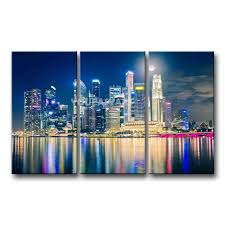 3 piece painting on canvas wall art singapore night lights reflection pictures print city the picture