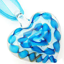 details about fashion aqua white heart glass lampwork bead murano pendant necklace ribbon cord