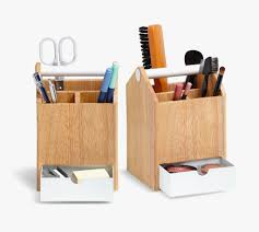 White And Wood Pencil Pen Holder