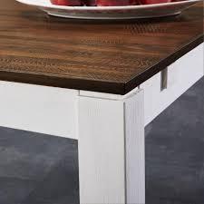 Esstisch Fakse 90x180 Braun Weiß Landhausstil Erweiterbar