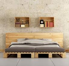 Recycled pallet bed and hanging book shelves