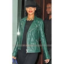 rihanna dark green leather jacket 700x700 jpg
