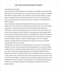 Letter Of Recommendation Samples For Students Example Letters Of Recommendation