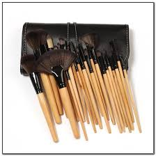 mac 24 pieces professional makeup brush set in leather pouch