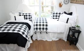farmhouse black white dorm bedding