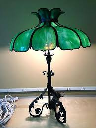 antique table lamp diameter green slag glass shade some damage