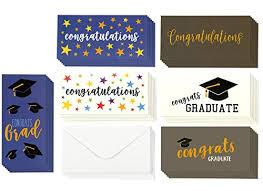 Graduation Cards Money Cards 6 Unique Designs Congratulations Cap Confetti Stars For High School College More Bulk Set Includes 36
