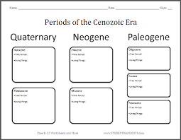 Era And Period Chart Periods Of The Cenozoic Era Chart Worksheet Student Handouts
