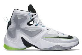 lebron green. name:nike lebron xiii color:white/black/wolf grey-voltage green style:807219-100. release date:06/11/2016. price:$200. exclusive:gr [detailed photos] lebron