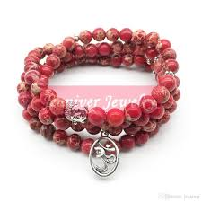 New Bead Designs Jeaniver Fashion Yoga Ohm Bracelet New Design Women S Healing Spiritual Jewelry Trendy Natural Red Regalite 108 Mala Bracelet
