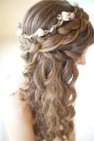 half up crown braided beach wedding hairstyles