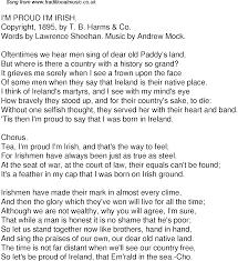 old time song lyrics for i m proud i m irish music lyrics as png graphic file