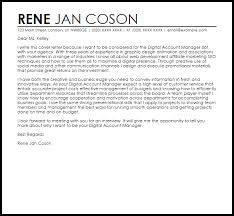 Digital Account Manager Cover Letter Sample Ideas Collection Account