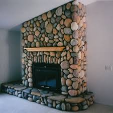 image detail for river rock energy efficient fireplace framed hearth and wall no