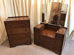 Oak Bedroom Chest Of Drawers Vintage Oak Bedroom Set Chest Of Drawers Dressing Table 1930s