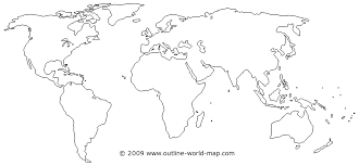 Outline World Map With Medium Borders White Continents And Oceans