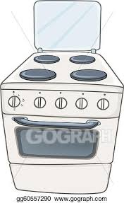gas stove clipart. vector stock - cartoon home kitchen stove oven isolated on white background. vector. clipart illustration gg60557290 gas