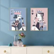 <b>Abstract</b> Playing Cards Wall Art Pink & Blue <b>Poker King And</b> Queen ...
