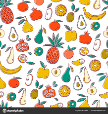 Fruit Pattern Custom Seamless Background With Fruits Vector Fruit Pattern Stock